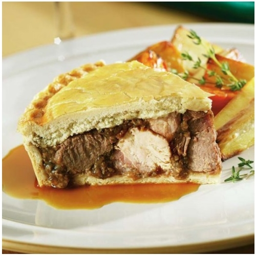 Large Game in red wine Pie
