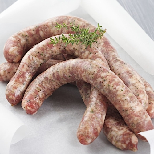 Free range handmade pork sausages