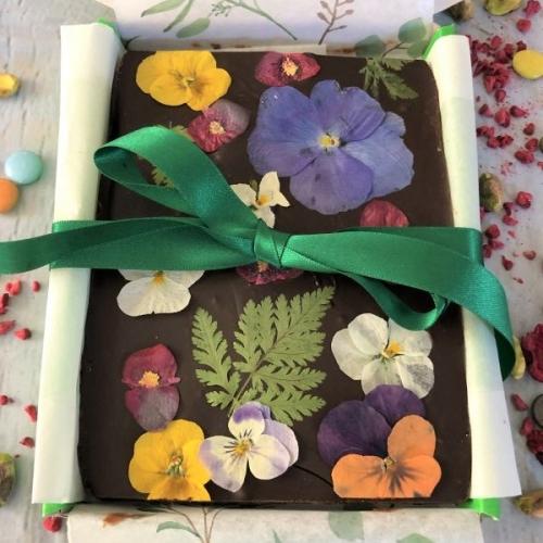 VEGAN Rich Chocolate Fudge with Edible Flowers