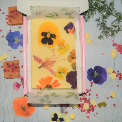 Artisan Fudge Decorated with White Chocolate and Edible Flowers